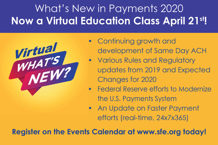 Log into the Virtual Class What's New in Payments 2020